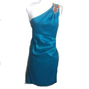 Badgley Mischka Turquoise Shoulder Cocktail  Dress